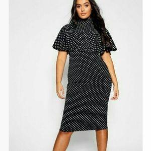 NWT BooHoo Polka Dot Collar Bodycon Midi Dress
